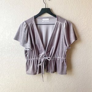 Urban Outfitters silver Goldie cropped velvet top